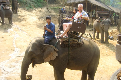 Peter Maxon and a Thai friend share a ride on an elephant.                                             (Courtesy Paul Maxon)