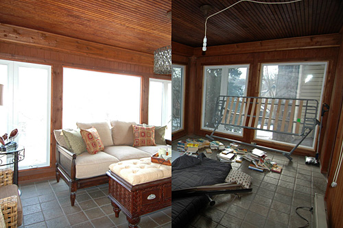 These pictures, set alongside each other, are what a room looks like after and before realtor and Weekend America guest Cotty Lowry dressed it up for sale.                                             (Cotty Lowry)