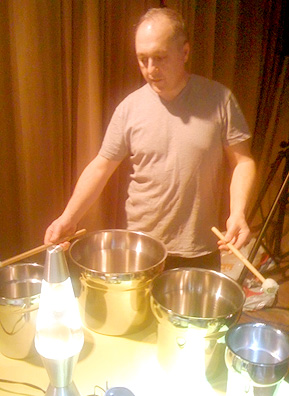 Fast Forward making his own special brand of music with mallets and metal sauce pots.                                             (Josh Rogosin)