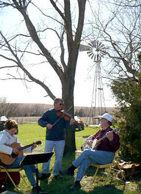 The Millbrook bluegrass band: Mary Allen, Todd Tollman and JF Stover. Stover grew up with Jan Jantzen in Hill City, Kansas.                                             (Sylvia Gross)