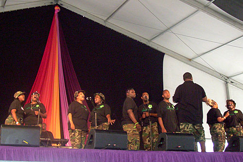 The Worship Squad performs in the Gospel Tent at the New Orleans Jazz and Heritage Festival, April 26, 2008.                                             (Lawrence Lanahan)