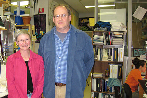 Bill McLellan and Ann Pabst in their laboratory at the University of North Carolina Wilmington.                                             (Megan Williams)