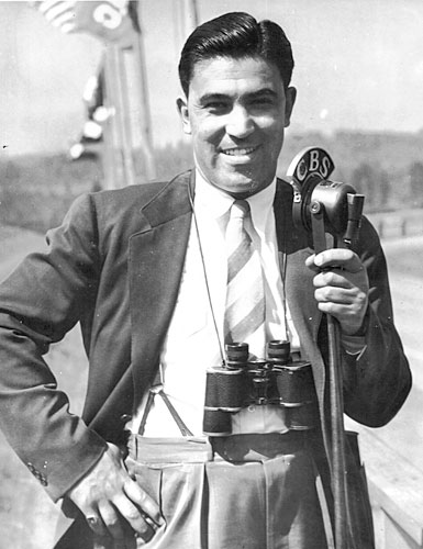 Joe Hernandez as he appeared at the time of Seabiscuit's victory in the 1940 Santa Anita Handicap. Here, he poses minutes before going live to call a race for CBS radio affiliates. His charismatic looks and distinct voice later made him a natural for television.                                             (Courtesy Caballo Press of Ann Arbor and Frank Hernandez. All rights reserved.)