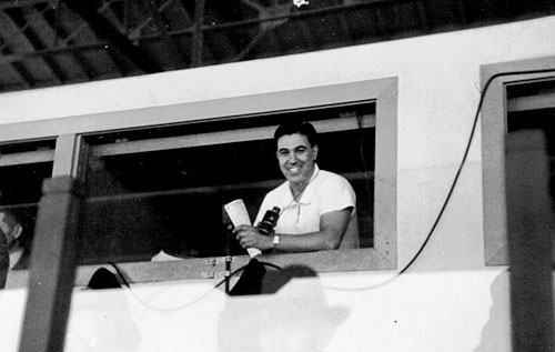 A youthful Joe Hernandez in the caller's booth at Bay Meadows.                                             (Courtesy Caballo Press of Ann Arbor and Frank Hernandez. All rights reserved.)