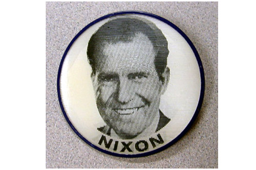 This view of the holographic campaign pin shows Nixon's face.                                             (Courtesy Hudson Library & Historical Society)