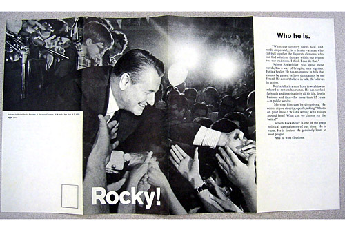 Page one of a political pamphlet produced for the Republican primary campaign of Nelson Rockefeller, who ran against Richard Nixon in 1968 in his third bid for the Republican presidential nomination. Rockefeller's candidacy represented the more liberal wing of the Republican party.                                             (Courtesy Hudson Library & Historical Society)