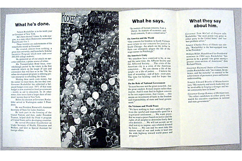 The inside of the Nelson Rockefeller campaign pamphlet.                                             (Courtesy Hudson Library & Historical Society)