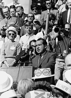 Richard Nixon speaking on the Statehouse steps during a campaign stop in Idaho in 1968.                                             (Wayne Cornell)