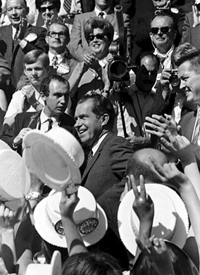"Idahoans cheer at a rally for Nixon in 1968. It was the support from states like Idaho that Nixon hoped to get with his focus on the ""silent center"" and ""silent majority"".                                             (Wayne Cornell)"