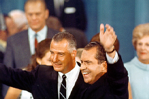 Richard Nixon and Spiro Agnew celebrate their nomination as the Republican candidates for president and vice president at the Republican National Convention in 1968.                                             (Ollie Atkins Photograph Collection, Special Collections & Archives, George Mason University Libraries)