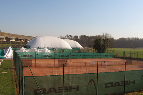 The outdoor tennis courts at the Mouratoglou Tennis Academy outside Paris are covered in giant white tents in the winter.                                             (Rene Gutel)