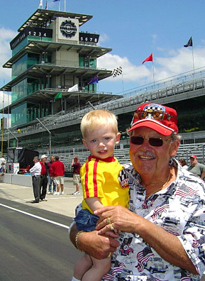 "Art Koch and grandson Camden ""Camshaft"" Wade hang out on the track in May, 2005.                                             (Courtesy Art Koch)"