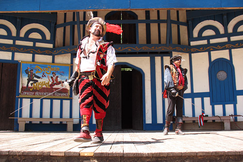 "Doug Kondziolka (left), aka Miguel, and Jose Granados, aka Don Juan, perform in ""The Don Juan and Miguel Show"", a fixture of the Dallas' Scarborough Faire Renaissance Fair for 24 years.                                             (Julia Barton)"
