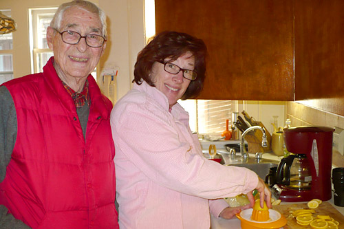 90-year-old Valbur Bolger teaches his daughter Tracy Friedman how to make his famous sangria.                                             (Valerie Pogue)
