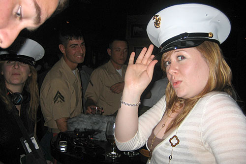 Felice Santorelli (wearing hat) at the Fleet Week kickoff party at Hard Rock Cafe New York, organized by the USO. In the background: Kelly McEvers, Brandal Harrington and Nicholas Smith.                                             (Courtesy Kelly McEvers)