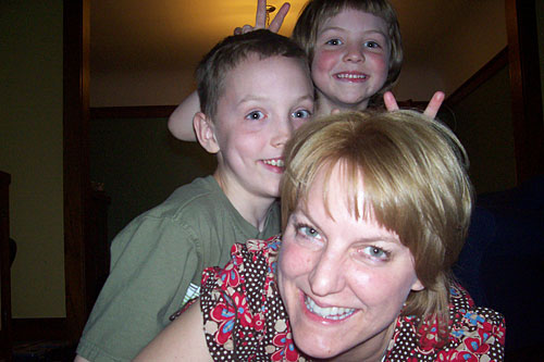 "Julie Nicholds and her children: ""These are the only monkeys on my back these days -- Mother's Day 2008.""                                             (Courtesy Julie Nicholds)"