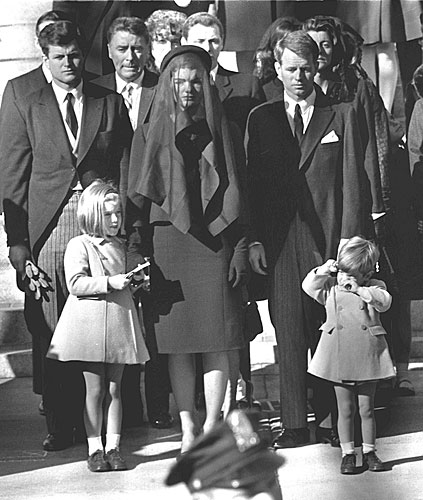 Members of the Kennedy clan watch the funeral procession for assassinated President John F. Kennedy, Nov. 26, 1963.                                             (AFP/Getty Images)