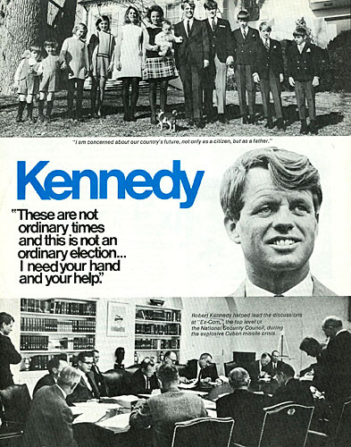 Back cover of a four-page campaign flyer for Robert Kennedy's bid for president.                                             (Courtesy Brad Robideau)