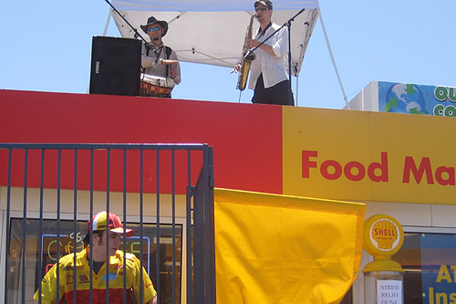 Bands play on the roof of the Tanforan Shell Food Mart every weekend as a consolation for high gas prices.                                             (Courtesy)
