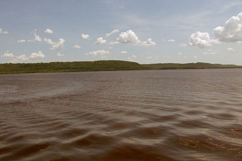The waters of Lake Pepin. The ripples we see here were caused by boats, not monsters.                                             (John Moe)