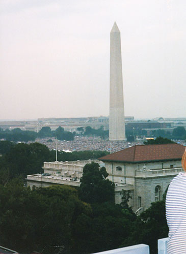 "The Mall on the Fourth of July, 1998: ""I could hear the Washington Philharmonic play, and see this wonderful fireworks extravaganza going on in our nation's capital just above my head, with that beautiful panoramic view that you see down the mall,"" recalls Michelle Singer.  ""It was very moving.""                                             (Michelle Singer)"