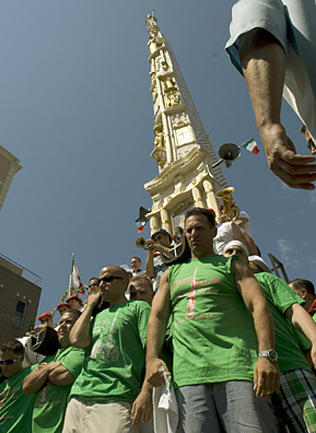 The Giglio is lifted by 125 men who carry the structure on their shoulders. They are led by the Capo Peranza, and there are eight lieutenants directing each corner.                                             (Michael Bocchieri)
