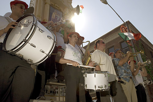 Balancing on top of the Giglio platform is a ten person band, singer and MC. The Festival of San Paolino de Nola in Brookyn has the only Giglio in America with a band on top.                                             (Michael Bocchieri)