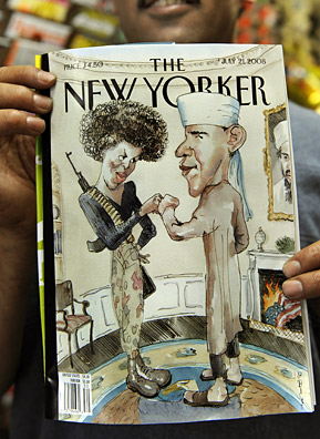 "New York City newsstand owner Taleb Alkardai holds a New Yorker magazine with a cover that depicts Democratic presidential candidate Barack Obama dressed as a Muslim and his wife as a militant sporting an Angela-Davis-style afro while the U.S. flag burns in a fireplace that has a portrait of Osama Bin Laden hanging over it. Barack Obama's campaign called the magazine cover ""tasteless and offensive.""                                             (Timothy A. Clary/AFP/Getty Images)"