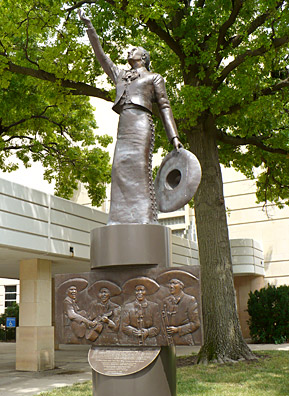 """Mariachi Divina"" was erected in 2006 outside the Topeka Performing Arts Center to honor the women of Mariachi Estrella.                                             (Sylvia Maria Gross)"