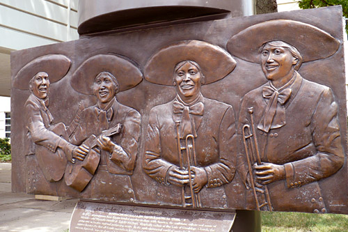 "A close-up of the statue honoring Mariachi Estrella in downtown Topeka. Pictured here are the four women who died in the Hyatt Regency disaster.  Left to right: Dolores Galvan, Connie ""Chae"" Alcala, Dolores Carmona and Linda Rokey Scurlock.                                             (Sylvia Maria Gross)"