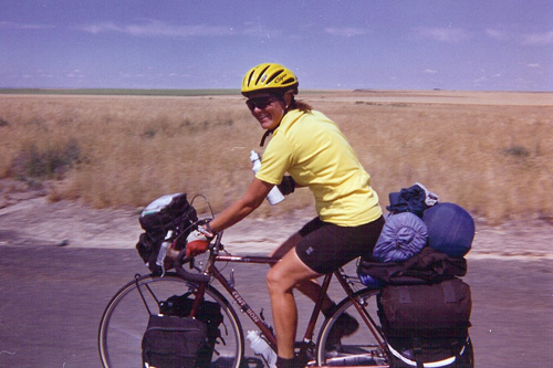 Candyce Deddens rides through Washington State. In 1999 at the age of 50, she rode solo across the country for eight months.                                             (Courtesy Candyce Deddens)