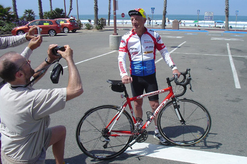 David Jones gets ready to race in his third Race Across America. Jones is pictured in Oceanside, Calif. The finish line is 3000 miles away in Annapolis, Md.                                             (Courtesy Candyce Deddens)