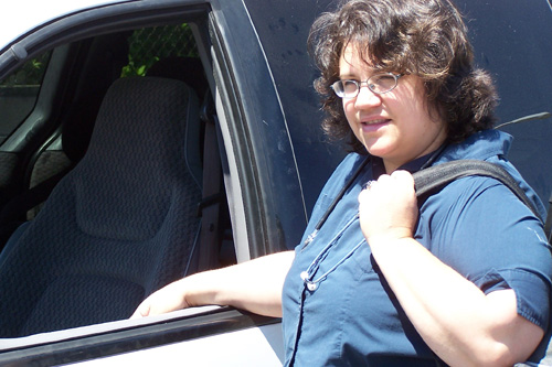 Debra Nicholls heading off to her weekend job as a hospice caregiver.                                             (Courtesy Debra Nicholls)