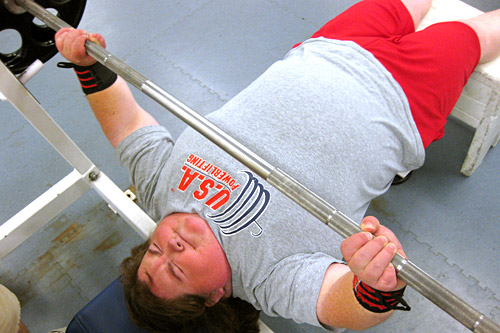 Paralympic power lifter Mary Stack benches 240 during training at the University of Michigan.                                             (Gideon D'Arcangelo)