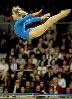 Belarus-born Olga Korbut of the (then) Soviet Union competing at the 1972 Olympic Games in Munich, Germany. Korbut won gold on the balance beam and floor exercises. She won a silver medal on the uneven parallel bars and was a member of the winning all-round team as well.                                             (Allsport UK/Allsport)