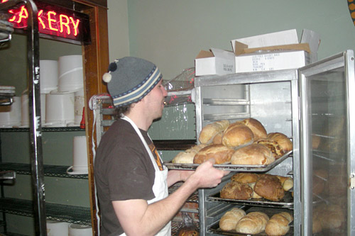 Once the bread is cooled it goes on to shelves, ready for weekend customers.                                             (Martin Wells)