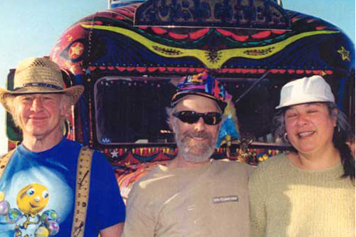 "Ken Kesey, George ""Hardly Visible"" Walker and Carolyn ""Mountain Girl"" Garcia, in front of the new Further bus.                                             (Courtesy of Zane Kesey.)"