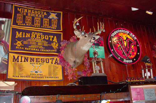 "Deer heads line the walls at The Gopher Bar. ""You should see their butts on the other side of the wall!"" says owner Cheri Kappas.                                             (John Moe)"