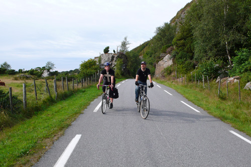 Leif and one of my cousins, Bjorn Ladstein, bicycle around  Finnoy, the island where my grandparents lived.                                             (Sasha Aslanian)