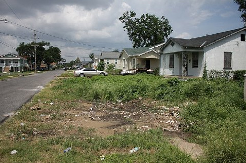This is a long view of Mr. Harrison's street, which was flooded during Hurricane Katrina. The homes are still in various stages of repair.                                             (Curt Peters)