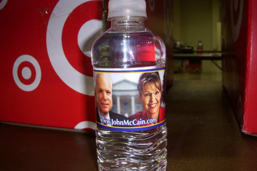 Political water handed out at the convention.                                             (Jim Gates)