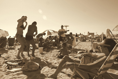 Diana Taft Shumate's friends dance and sing on the beach at Coney Island on Labor Day weekend.                                             (Diana Taft Shumate)