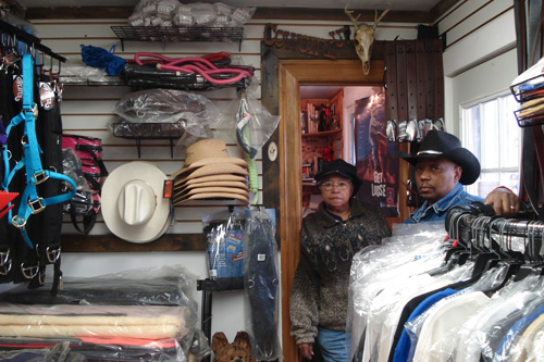 The Black Cowboys buy their gear and clothing at an on-site store.                                             (Eric Molinsky)