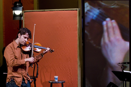 Cornelius Dufallo, who plays violin in ETHEL's Truckstop.                                             (Jack Vartoogian/Front Row Photos)