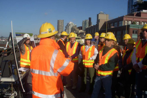 During the annual closure of the viaduct WSDOT offers public tours to educate residents about the issues facing the aging structure.                                             (Jim Gates)