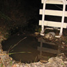 A roadside sinkhole in Roseton, New York.