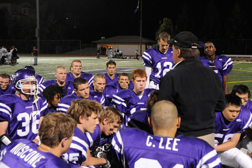 Post-game huddle.                                             (Pat Krausgrill/Piedmont Post)