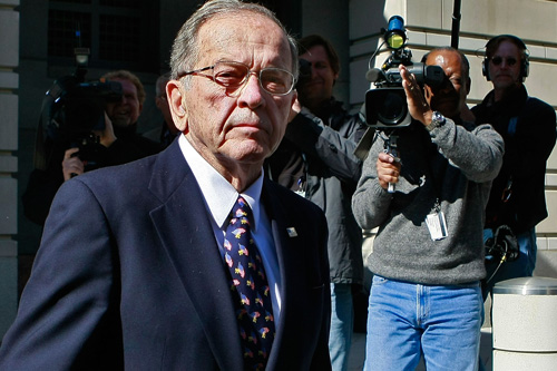 U.S. Senator Ted Stevens of Alaska leaves a Federal Courthouse in Washington, DC. Senator Stevens was found guilty of seven felonies.                                             (Mark Wilson/Getty Images)