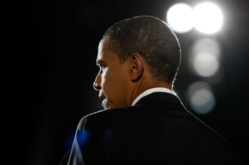 U.S. President elect Barack Obama gives his victory speech to supporters during an election night gathering in Grant Park in Chicago, Illinois.                                             (Joe Raedle/Getty Images)