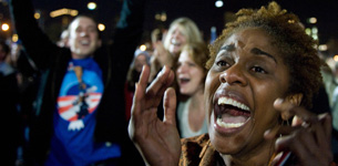 Obama supporters celebrate in Grant Park, Chicago